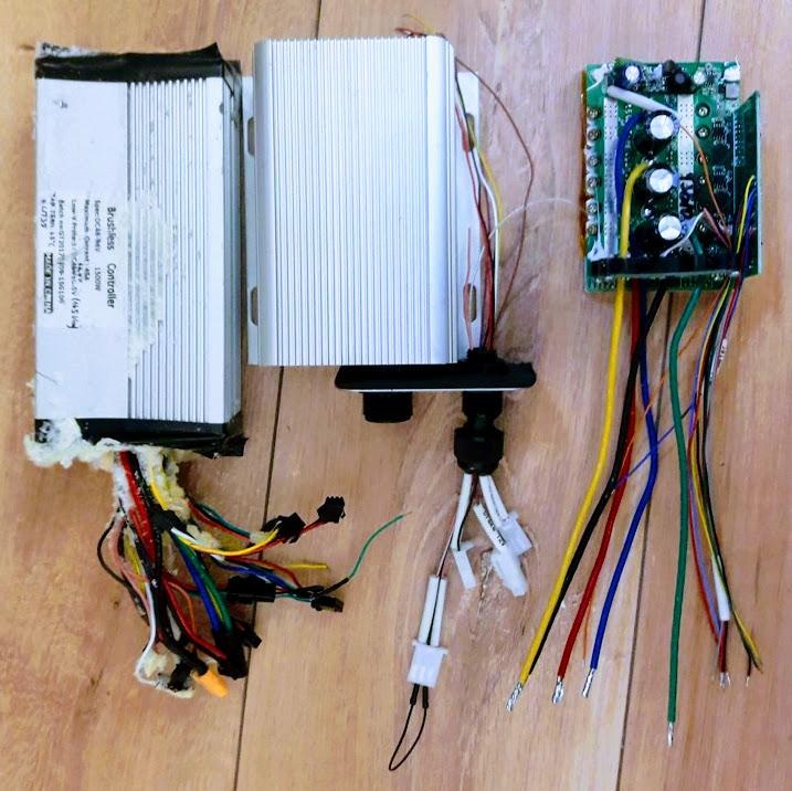 Controller dimensions: left: GT1500, middle: original Sabvoton MINI housing, right: Sabvoton MINI without electronics box