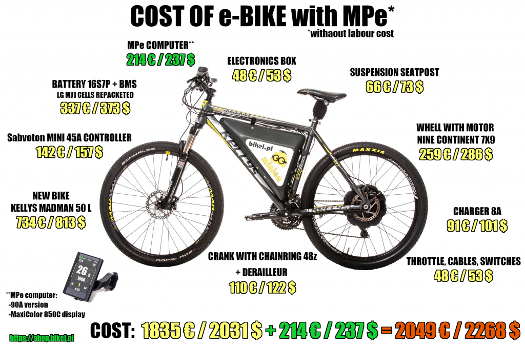 Construction cost of e-bike with MPe computer and MaxiColor 850C display