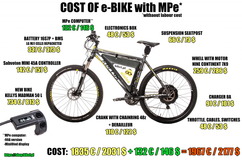 Construction cost of e-bike with MPe computer and MiniOled display